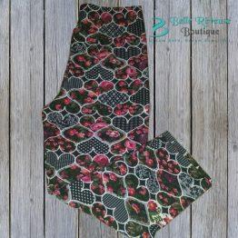 floral heart leggings