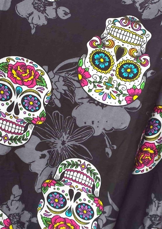 Black Sugar Skull Print Closeup
