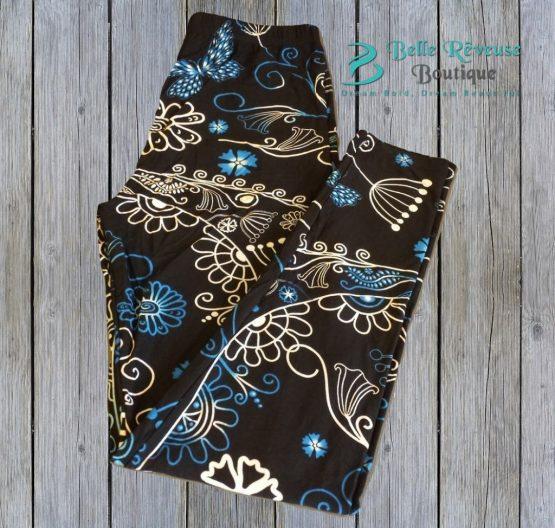 blue ombre leggings on wood