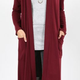 open front long cardigan in dark burgundy