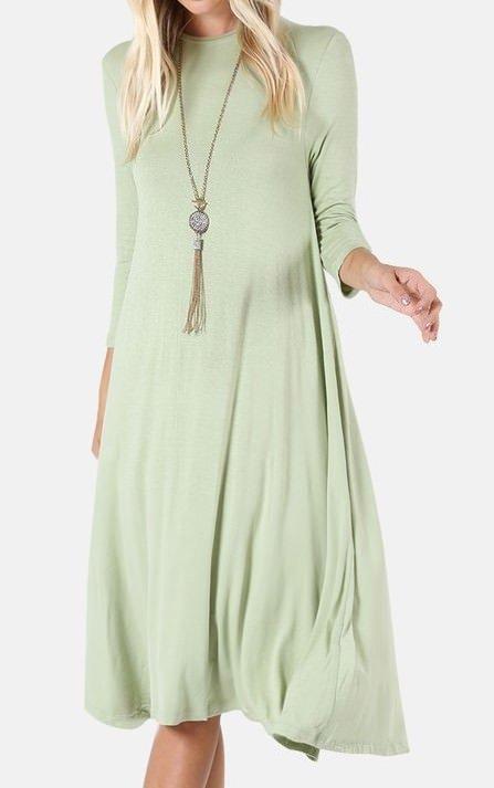 Midi Dress 3/4 Sleeve