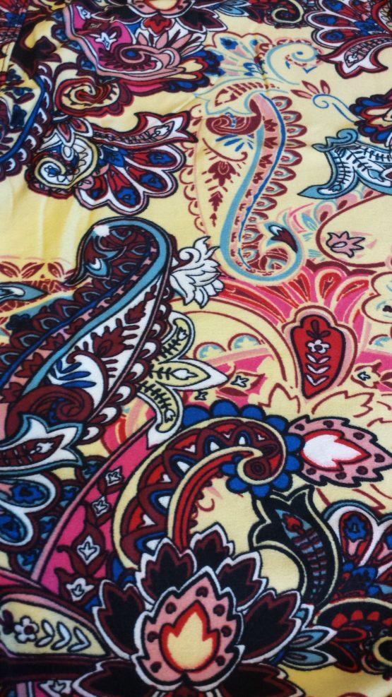 Yellow Paisley Print Closeup