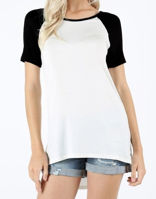 Raglan T Shirt in Ivory and Black