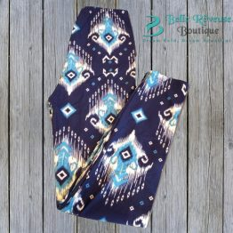 blue tribal leggings