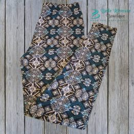 ethnic print leggings in turquoise & white on wood