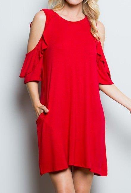 Ruffle Sleeve Dress With Pockets