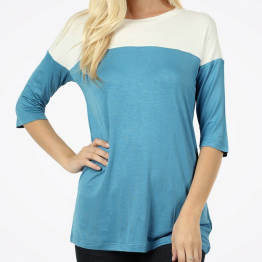 Color Block Shirt in Ocean Blue