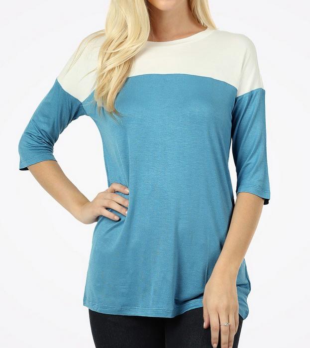 Color Block Shirt in Ocean Blue