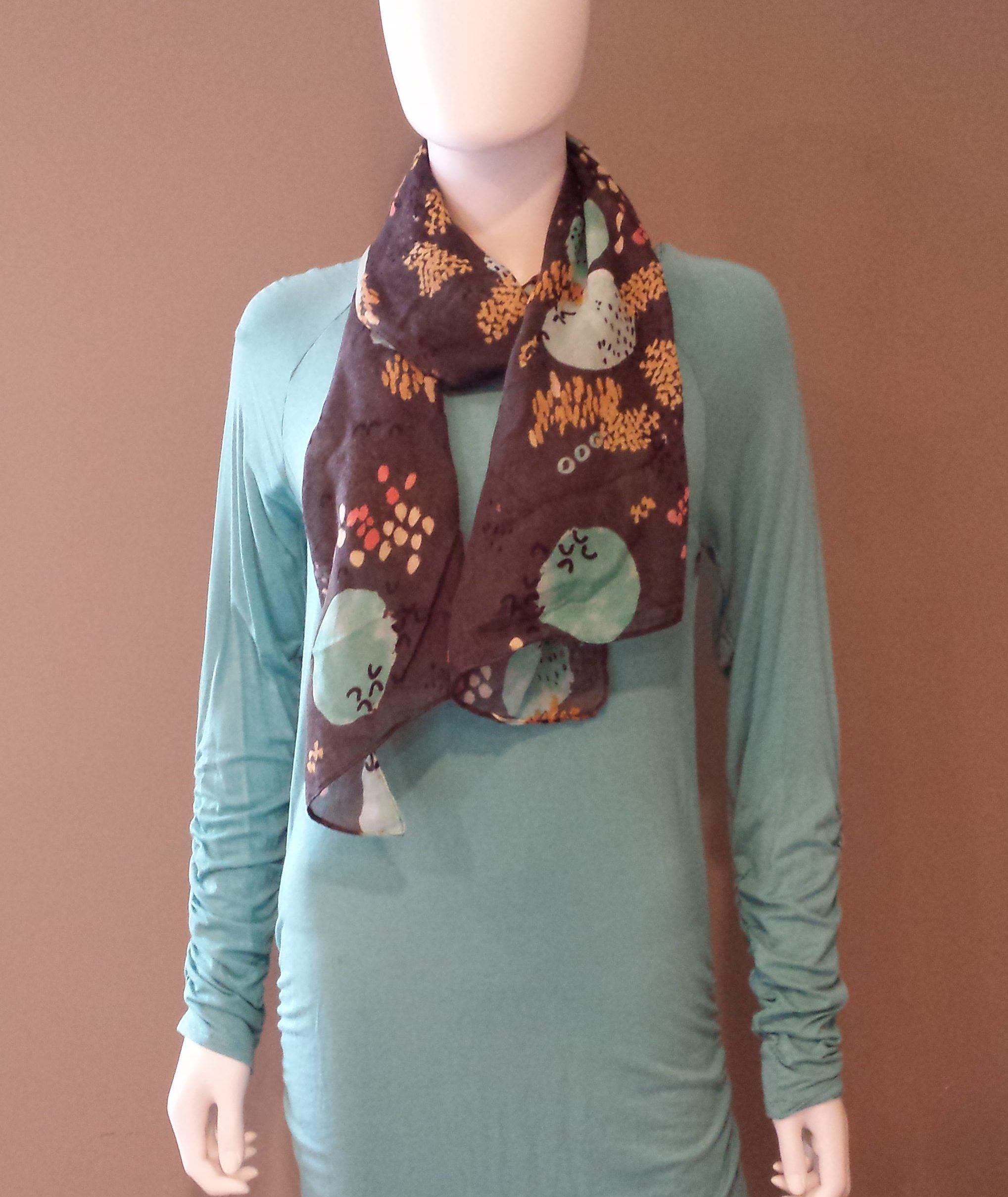tunic dress with blue and grey scarf