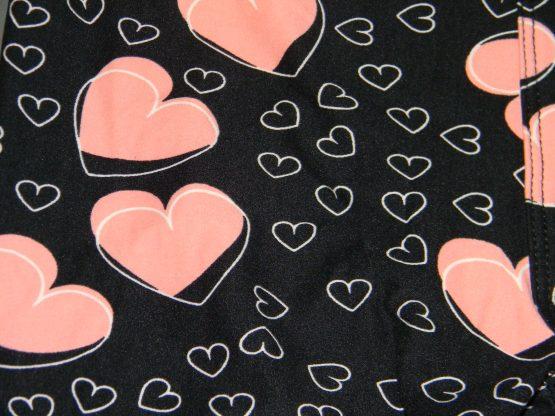 Pink Heart Leggings Print Closeup