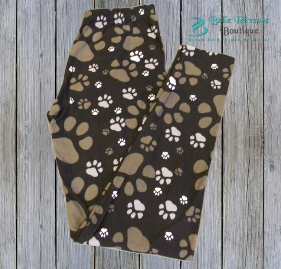 muddy paws paw print leggings