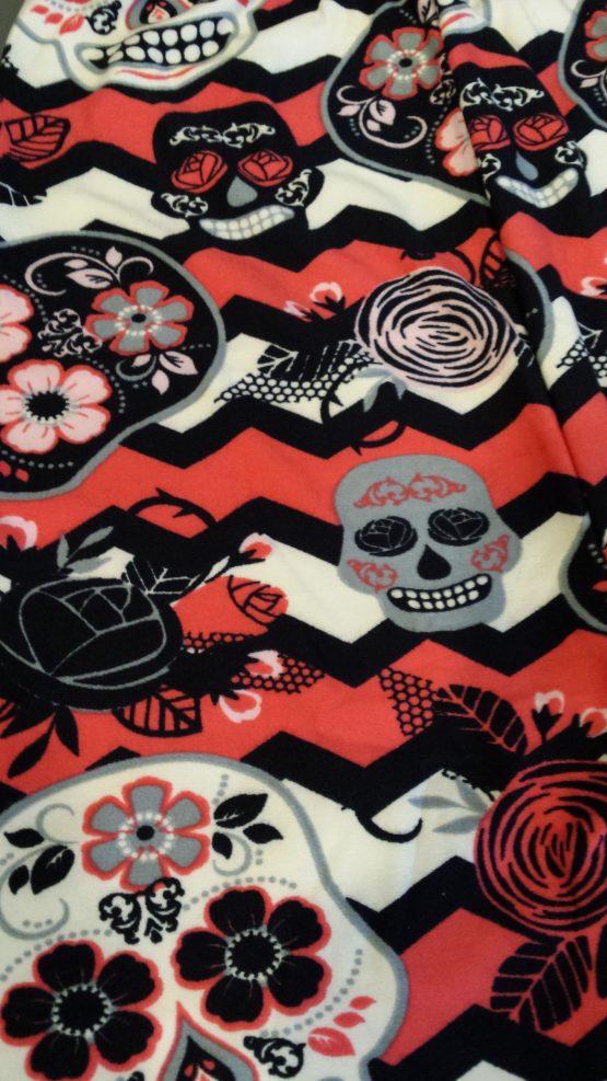 Rose Sugar Skull Print Closeup