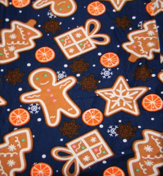 Gingerbread Man Leggings Print Closeup