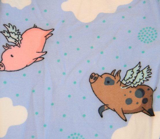 Flying Pig Leggings Print Closeup