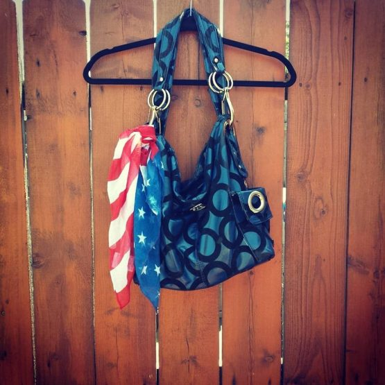 American Flag Scarf on Purse