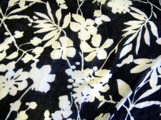 black & white floral scarf fringed closeup