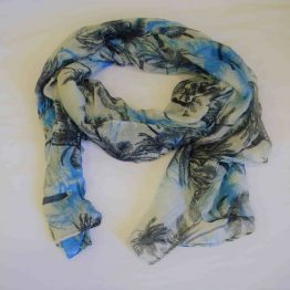 blue Hawaiian palm tree scarf-large square