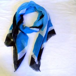 Blue Black and White Scarf