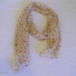 cream floral scarf-oblong