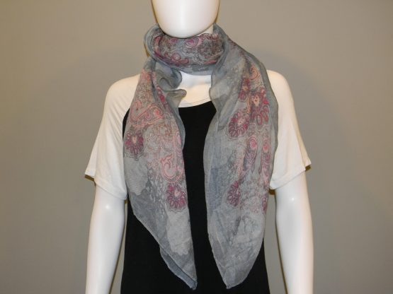 Pink and Gray Scarf Fit