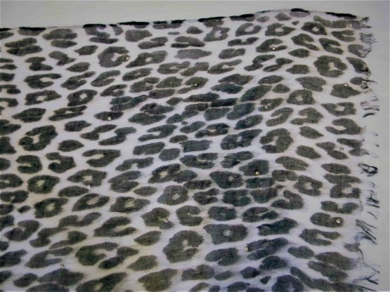large leopard print scarf w/gems closeup