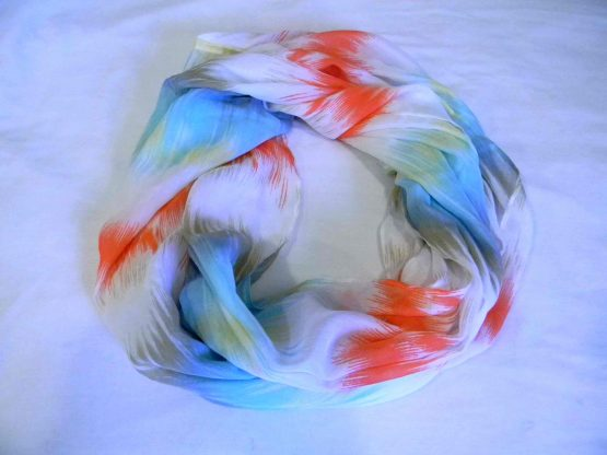 red & blue infinity scarf