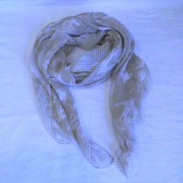 tan & white bird scarf-square