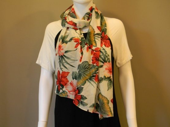 Floral Print Design Scarf Neck Fit