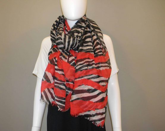 Zebra Print and Red Scarf Fit