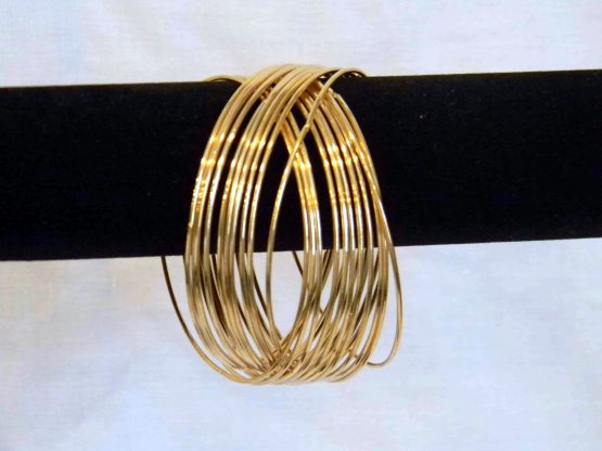 gold linked bangle bracelet hang