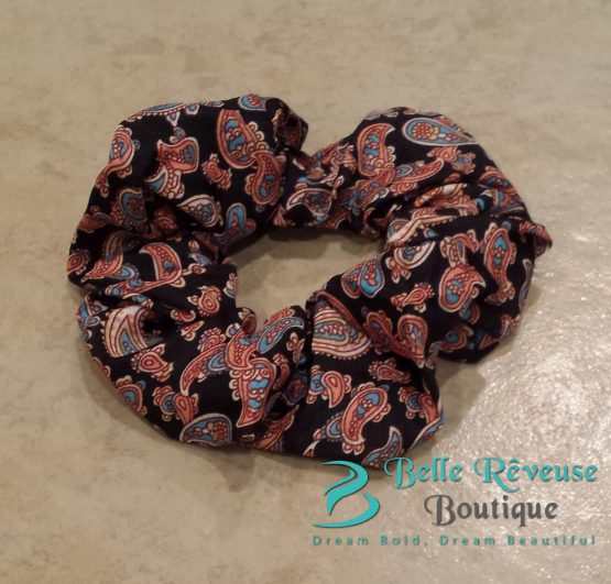 Black Paisley Print Scrunchie
