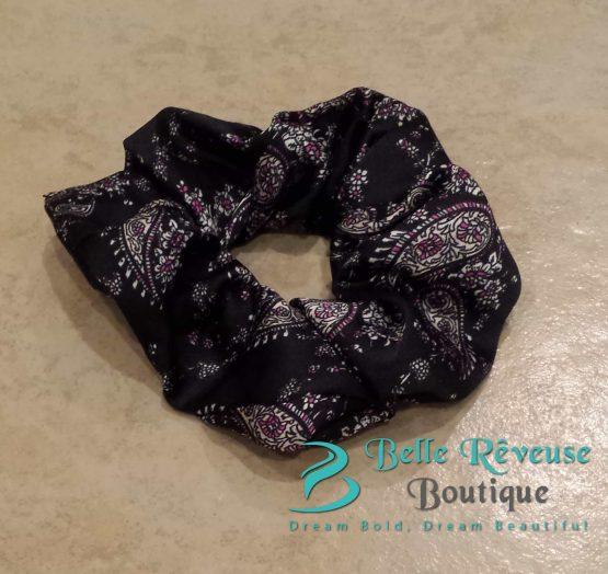 Black Silk Paisley Print Scrunchie