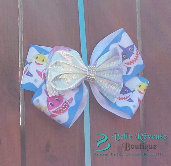 Blue Baby Shark Hair Bow