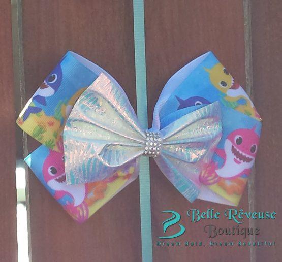 Blue Ocean Baby Shark Hair Bow