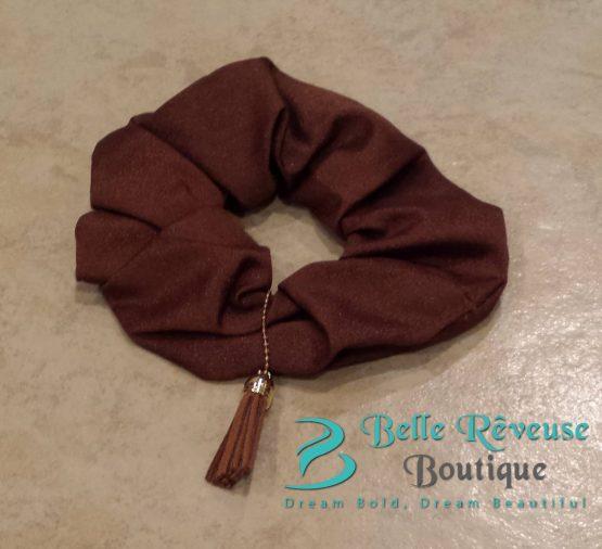 Brown Tassel Scrunchie