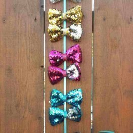 Sequin Hair Bows With Clips