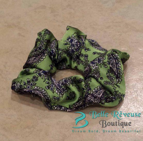Green Silk Paisley Print Scrunchie
