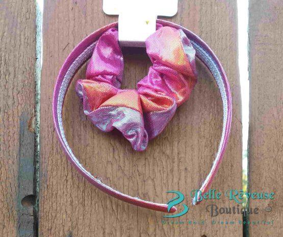 Headband and Ponytail Holder Pink