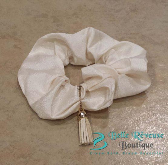 Ivory Tassel Scrunchie