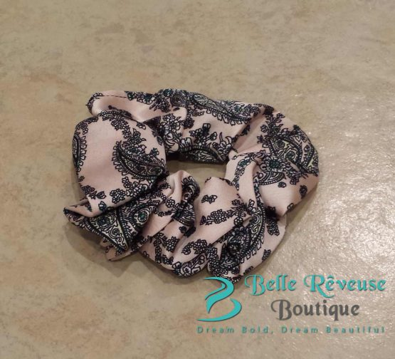Light Pink Silk Paisley Print Scrunchie