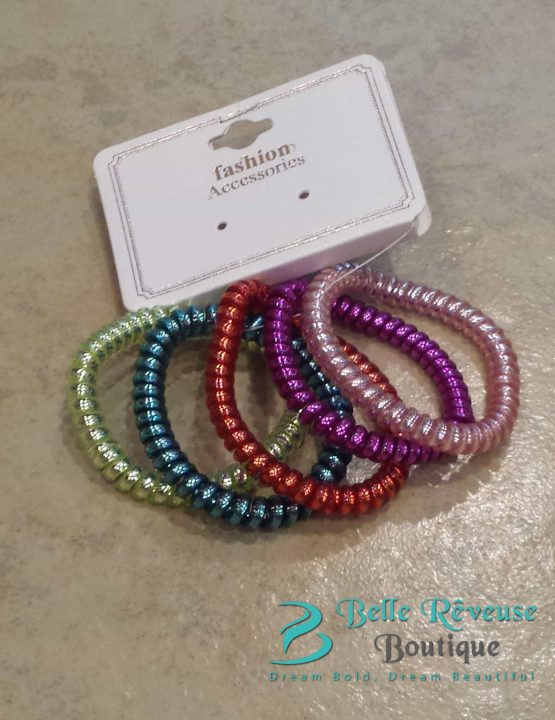 Multi Color Phone Cord Hair Tie Bundle