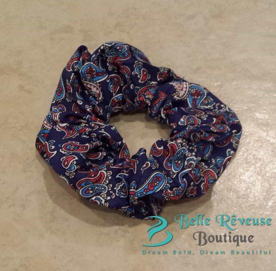 Navy Blue Paisley Print Scrunchie