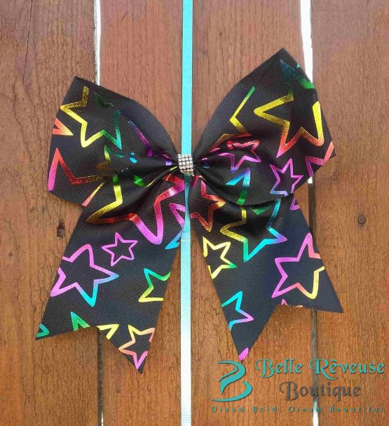Oversized Bows for Hair - Black Holographic Star