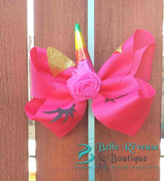 Oversized Bows for Hair - Dark Pink Unicorn Face