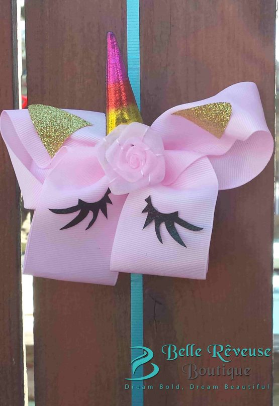 Oversized Bows for Hair - Light Pink Unicorn Face