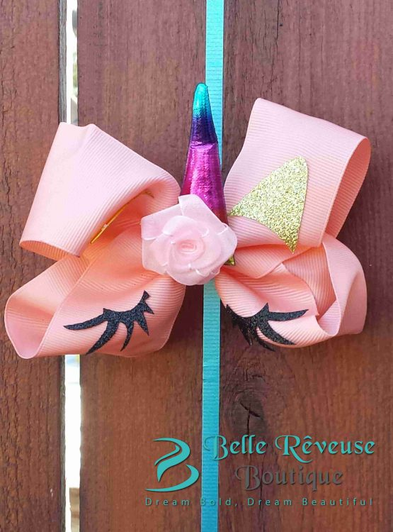 Oversized Bows for Hair - Peach Unicorn Face