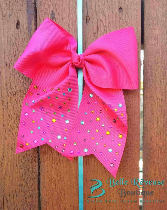 Oversized Bows for Hair - Pink Gem