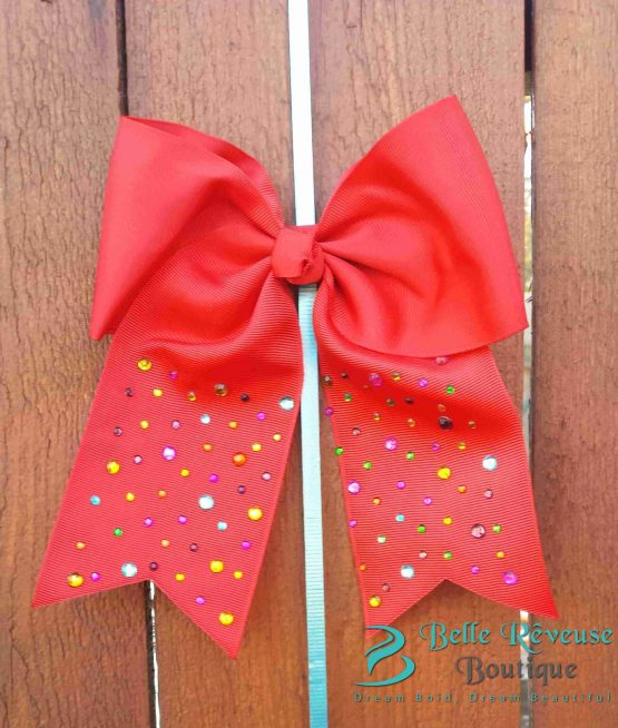 Oversized Bows for Hair - Red Gem