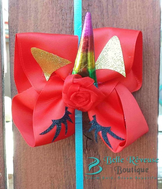 Oversized Bows for Hair - Red Unicorn Face