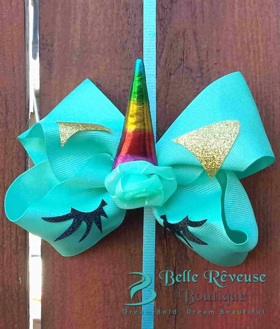 Oversized Bows for Hair - Teal Unicorn Face